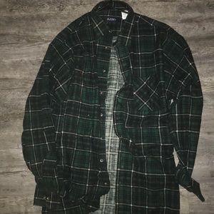 Dark Green tall flannel 90s style shirt